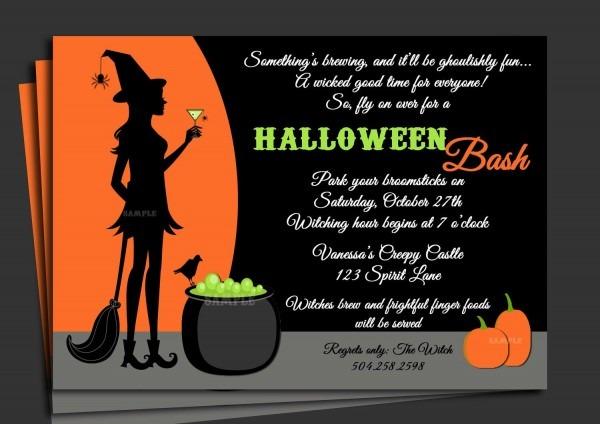 Crazy Creative Halloween Party Invitation Wording Idea With Orange