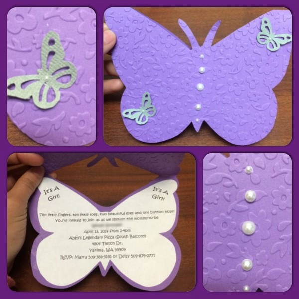 Purple Butterfly Babyshower Invitations