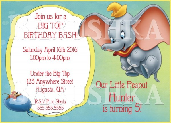Dumbo The Elephant And Timothy The Mouse Birthday Party Invitation