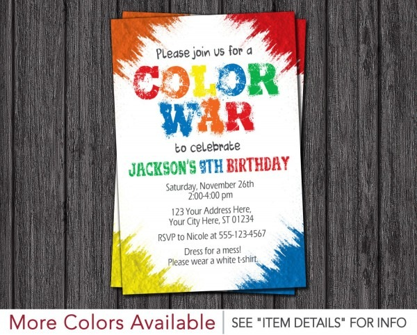 Color War Invitation