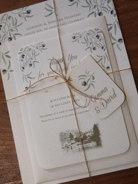 Mediterranean Wedding Invitation & Reply Card Bundle