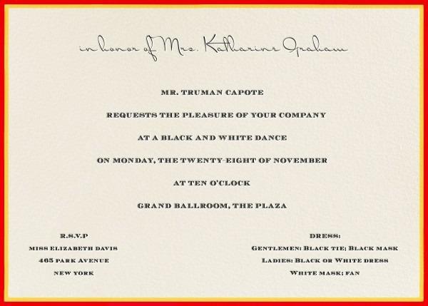 Image Result For Truman Capote Black And White Ball Invitation