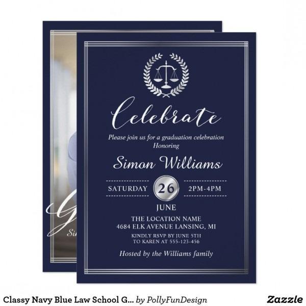 Classy Navy Blue Law School Graduation Party Photo Invitation In