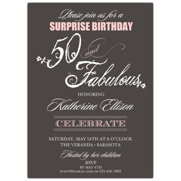 Fabulous Script Th Birthday Best Surprise Birthday Invitation