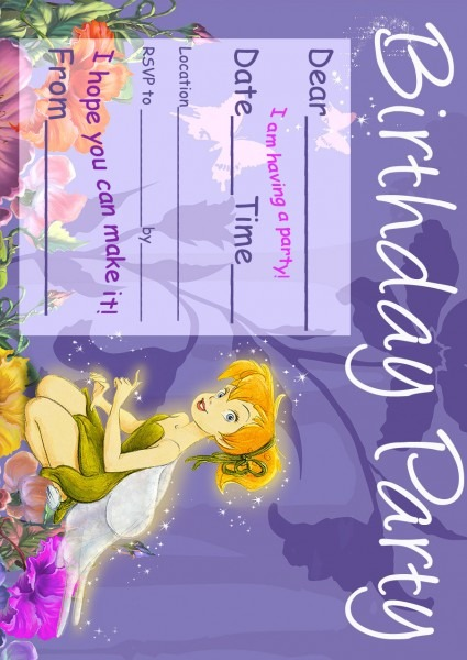 Free Love Quotes  Tinkerbell Birthday Party Invitation Printable