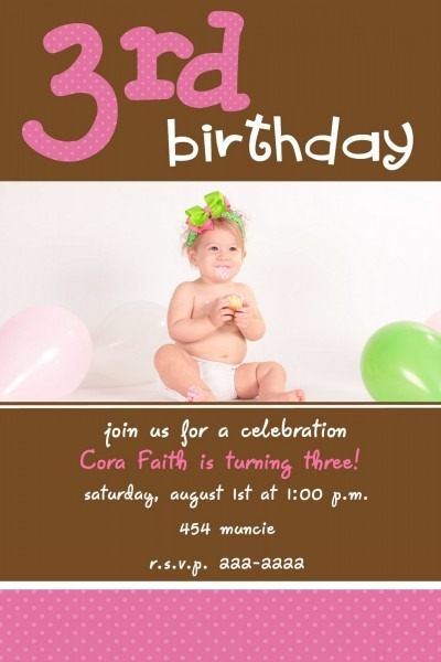 Fancy 3rd Birthday Invitation Wording 76 For Invitations Birthday
