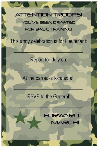 Fancy Army Birthday Invitation Template