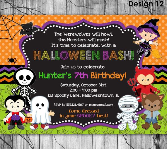 Fancy Halloween Themed Birthday Party Invitations