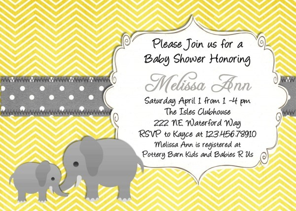 Fancy Yellow And Gray Baby Shower Invitations 58 For Invitations