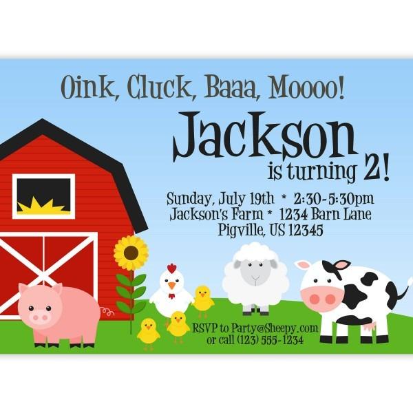 Farm Party Invitations S Amazing Farm Animal Birthday Invitation