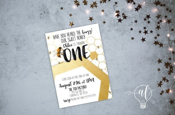 Bumble Bee Birthday Invitation, Honey Bee First Birthday