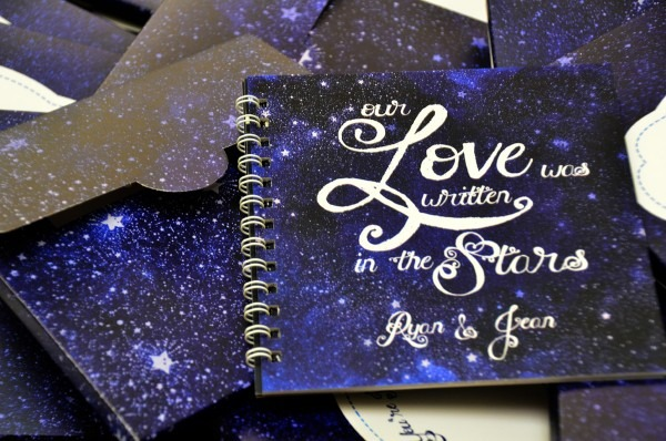 Ryan & Jean's Starry Night Themed Wedding Scrapbook Invitations