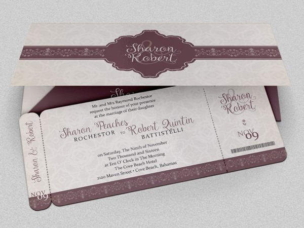 Wedding Boarding Pass Invitation Template On Behance