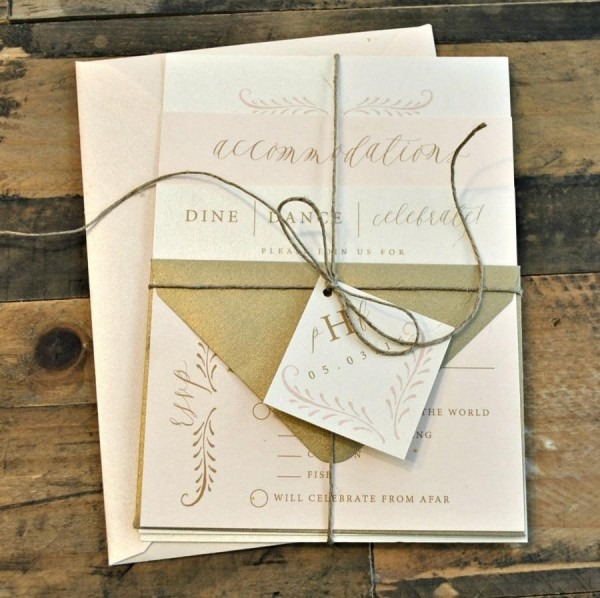 Fern Calligraphy Wedding Invitation Suite With Twine Tie And