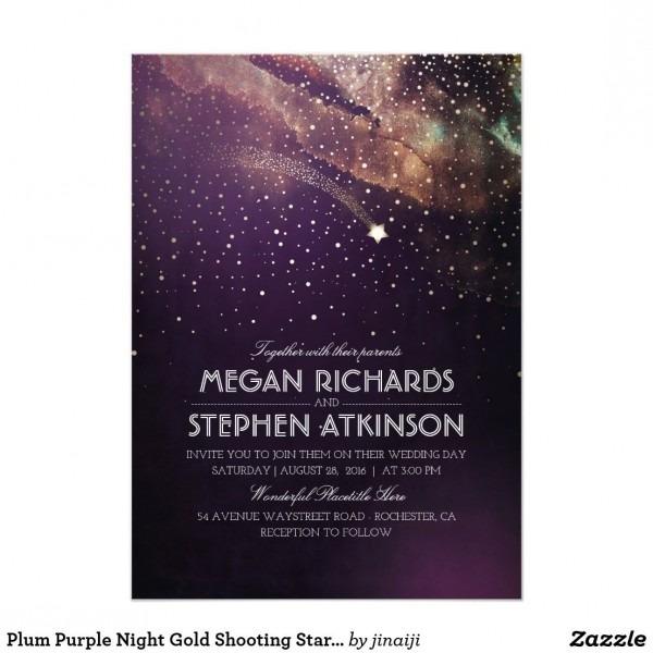 Plum Purple Night Gold Shooting Star Wedding Card