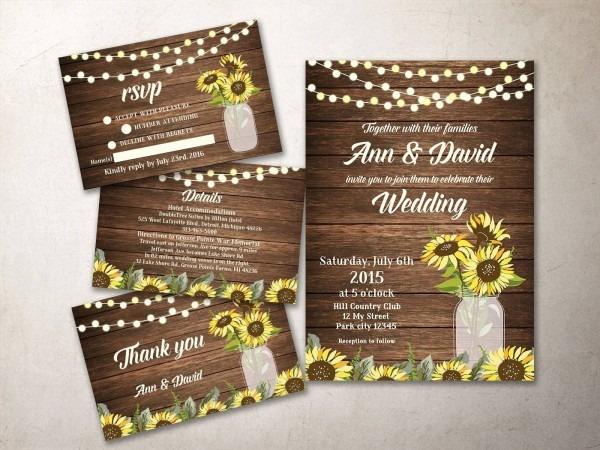 Rustic Wedding Invitation Suite Printable, Sunflower Wedding