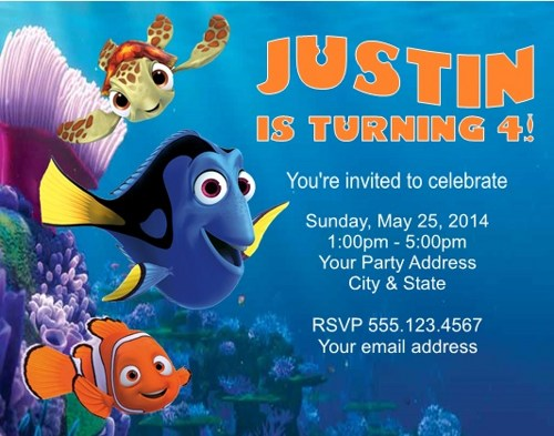 Finding Nemo New Finding Nemo Birthday Invitation Template