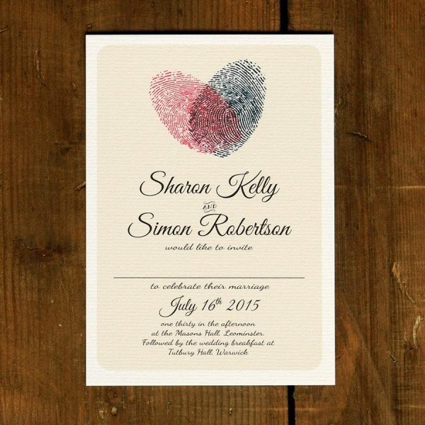 Fingerprint Heart Wedding Invitation Set On Luxury Card