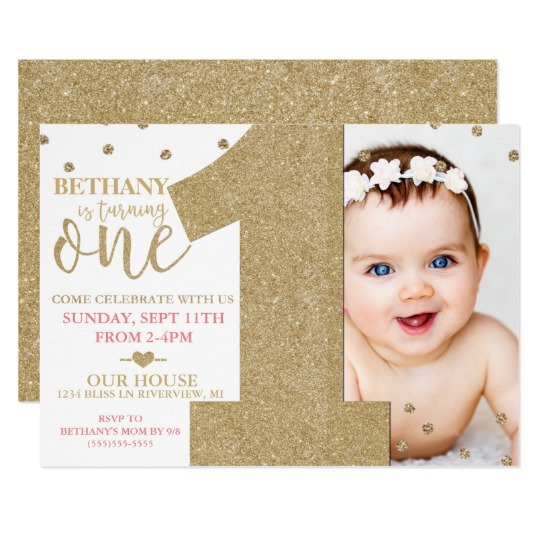 First Birthday Faux Gold New One Year Birthday Invitations