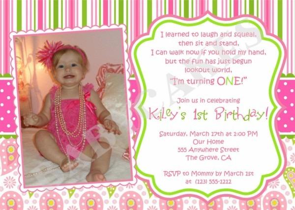 1st Year Birthday Invitation Wordings 12 Images Usha Greetings
