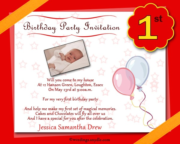 First Birthday Party Invitation Message Superb With First Birthday