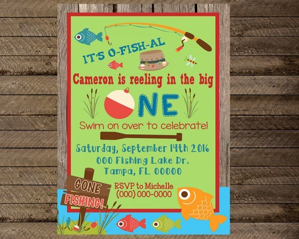 Fishing Themed Pa Simple Fishing Themed Birthday Invitations