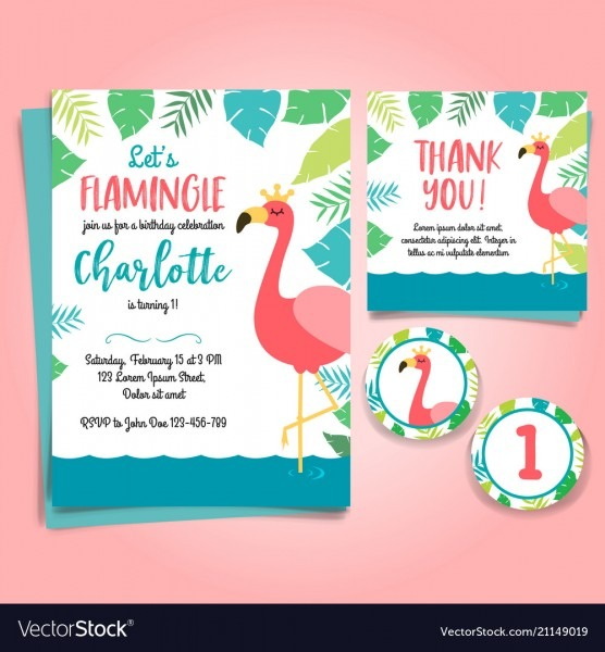 Flamingo Birthday Invitation Pool Party Royalty Free Vector