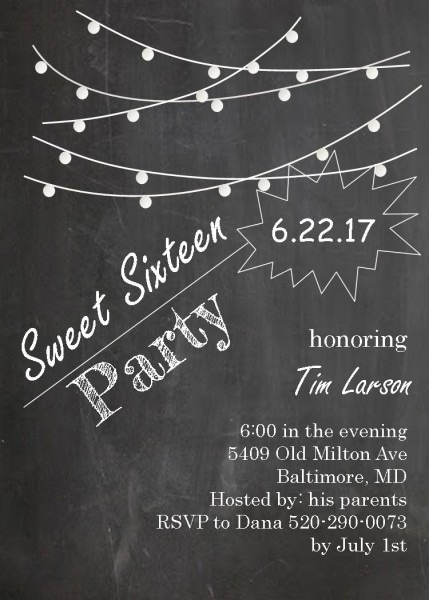 Flat Paper With Chalkboard Themed 16th Birthday Party Invitation