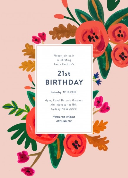 Floral Birthday Birthday Invitation Pink Potrait X Fresh Birthday