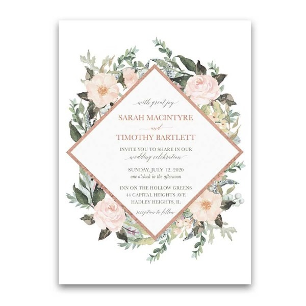 Geometric Wedding Invitations Blush Peach Floral Greenery