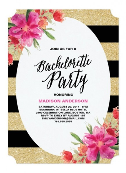 Floral Glam Bachelorette Party Invitation Inspirational