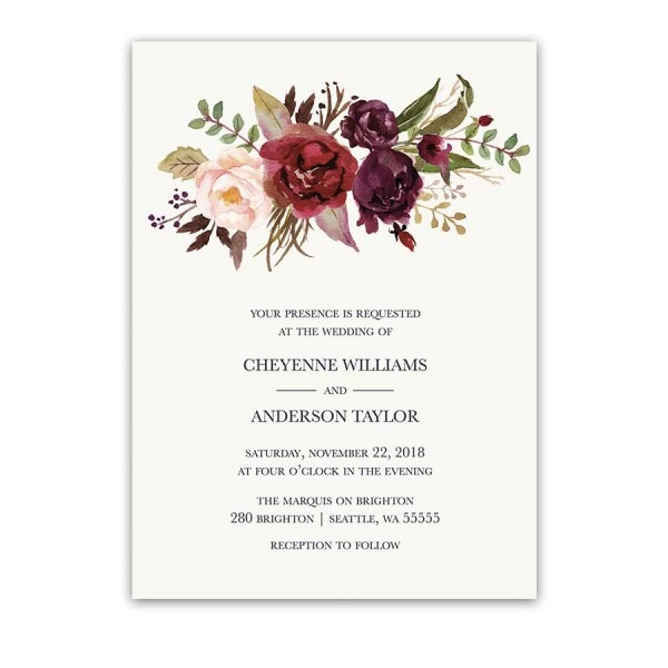 Burgundy Wedding Invitations Watercolor Florals Blush Wine
