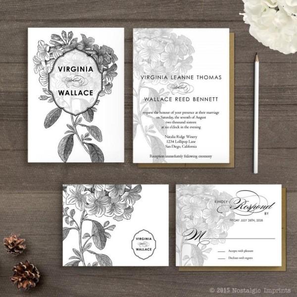 Floral Wedding Invitations   Wedding Guest Invitations   Wedding