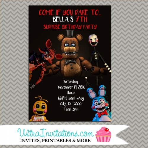 Five Nights At Freddys Birthday Party Invitations For A Pretty