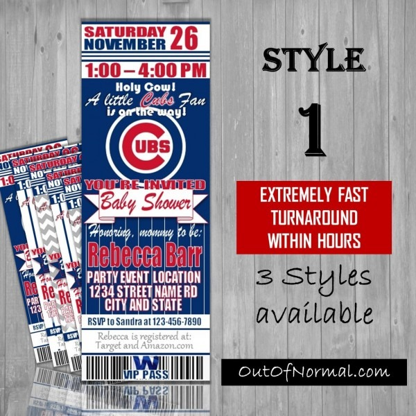 Il Xn Dv Luxury Chicago Cubs Birthday Invitations