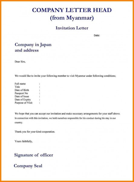 Formal Invitation Letter Format Example Informal Shocking Business