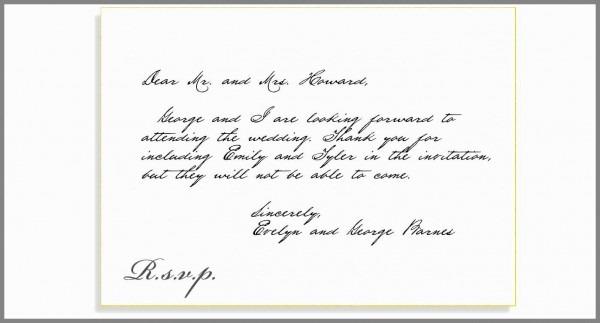 Formal Response To Wedding Invitation Pleasant Rsvp Etiquette