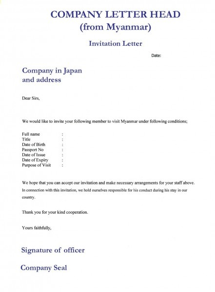 Format Of Invitation Letter For Business Visa Templates L