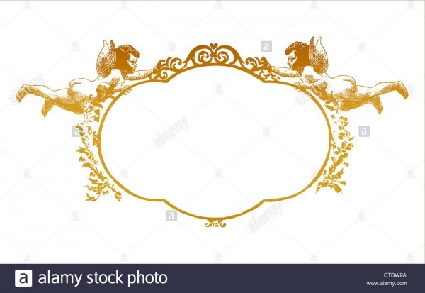 Frame With Two Herubs  Can By Used As Wedding Invitation, Love
