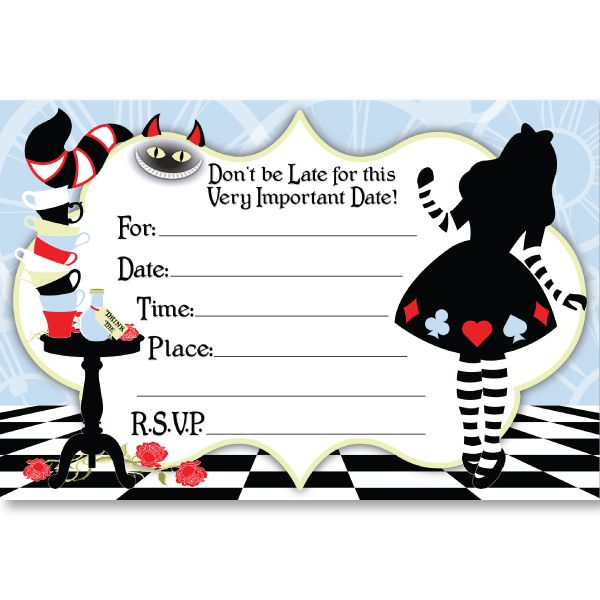 Free Alice In Wonderland Invitation Template Best Alice In