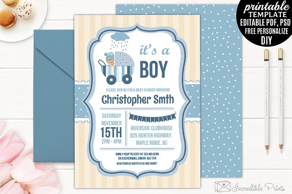 Baby Blue Stripes Good Free Printable Baby Shower Invitations