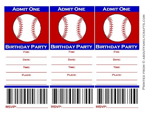 Free Printable Baseball Party Invitations