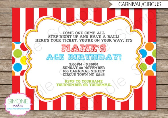 Free Circus Birthday Invitations Printables Amazing With Free