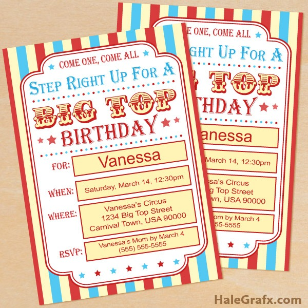 Free Circus Birthday Invitations Printables Great With Free Circus