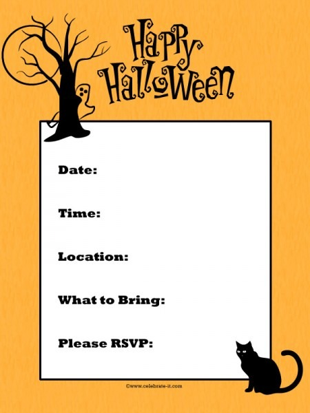 Free Downloadable Halloween Invitations Ideal Costume Party