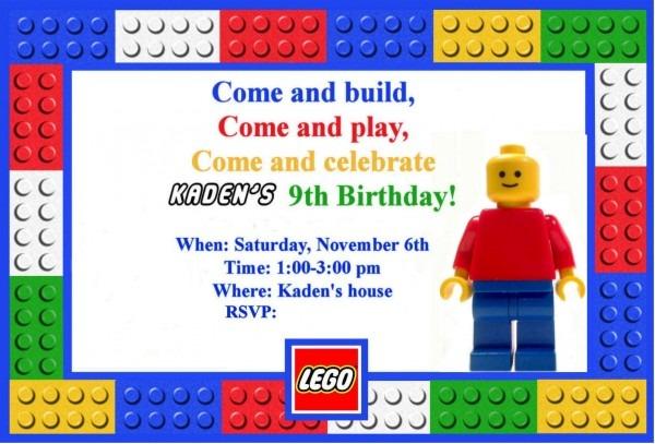 Birthday Invitations  The Legendary Lego Birthday Invitations