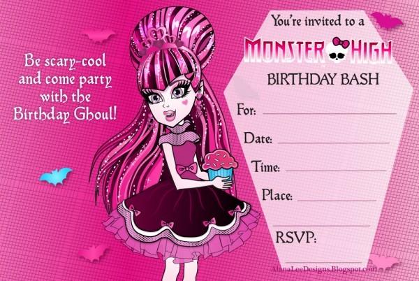 Free Monster High Birthday Invitations Cute Monster High Birthday