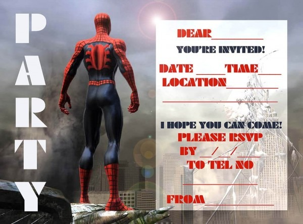 Free Party Invitation Template Spider Man Cool Spiderman