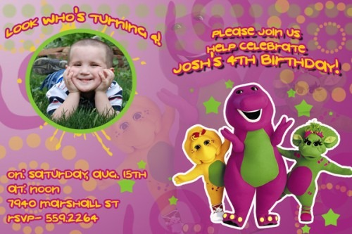 Free Personalized Barney Birthday Invitations Fabulous With Free