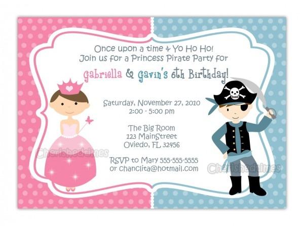 Free Printable Princess And Pirate Birthday Party Invitations